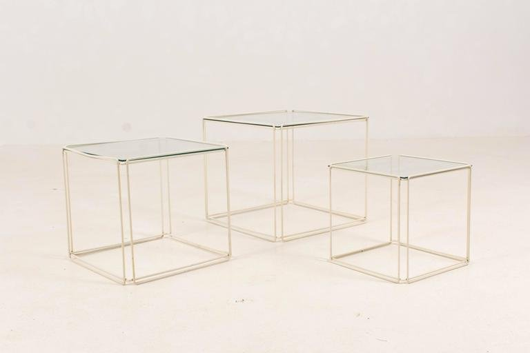 Mid Century Modern Metal And Glass Nesting Tables By Max Sauze