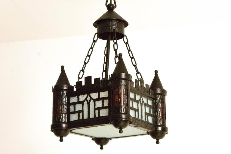 Amazing Gothic Revival Style Hall Lamp, 1930s