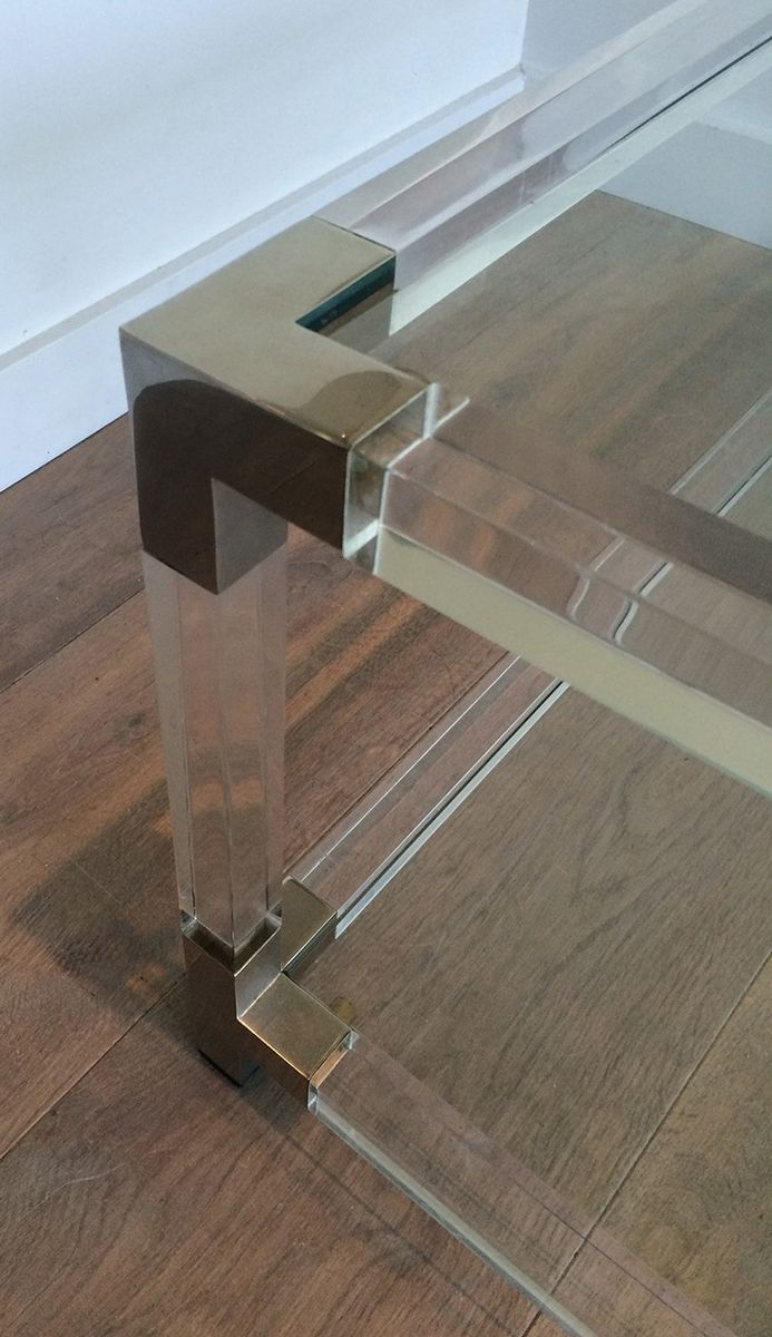 grande table basse en plexiglass et en chrome de david lange 1970s en vente sur pamono. Black Bedroom Furniture Sets. Home Design Ideas