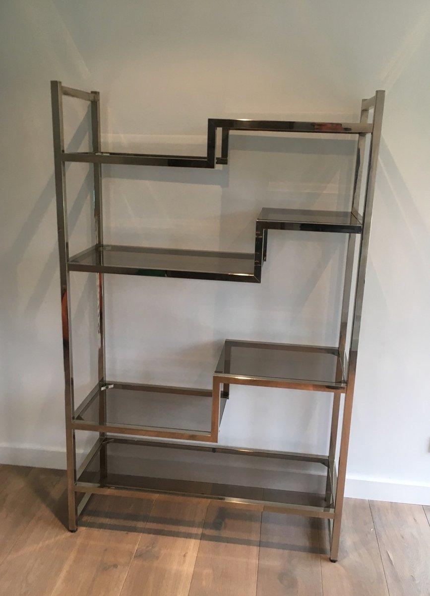 vintage regal aus metall glas bei pamono kaufen. Black Bedroom Furniture Sets. Home Design Ideas