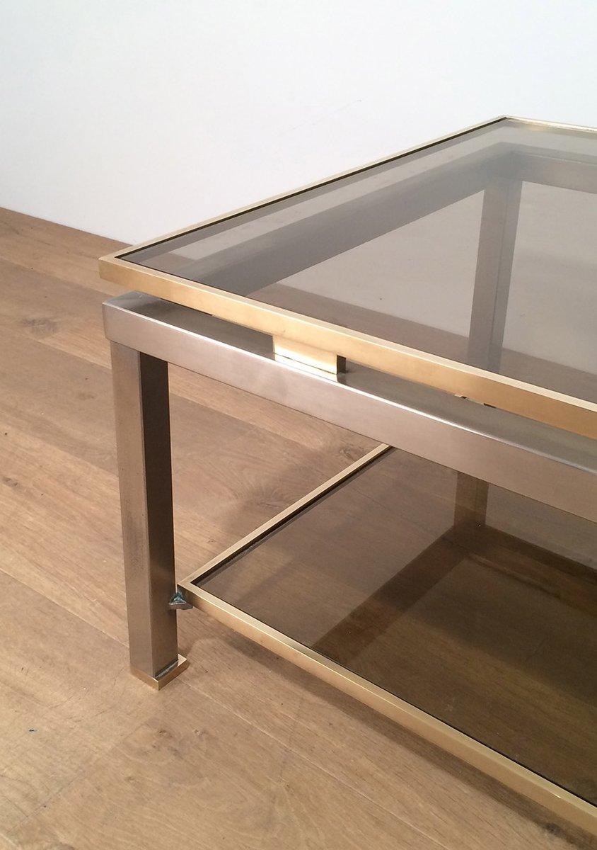 couchtisch aus messing geb rstetem stahl von guy lef vre. Black Bedroom Furniture Sets. Home Design Ideas