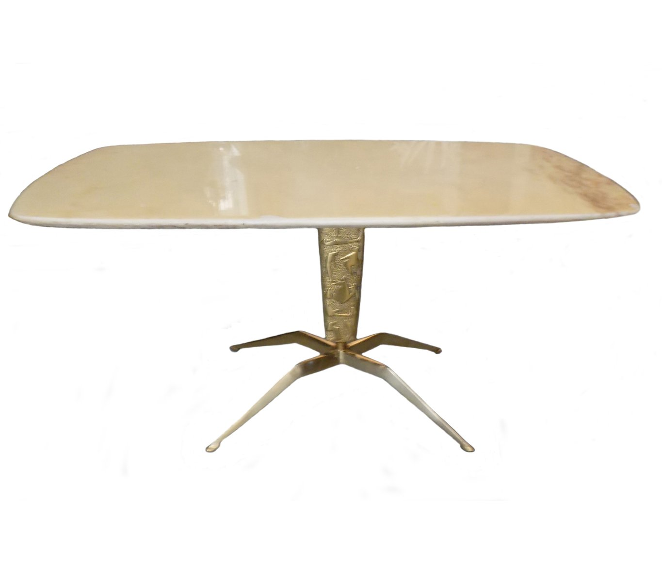 Golden Brass U0026 Marble Coffee Table, 1950s