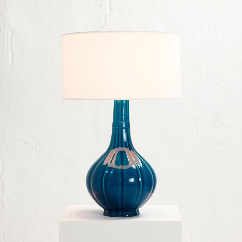 Blue Ceramic Table Lamp By Pol Chambost, 1972