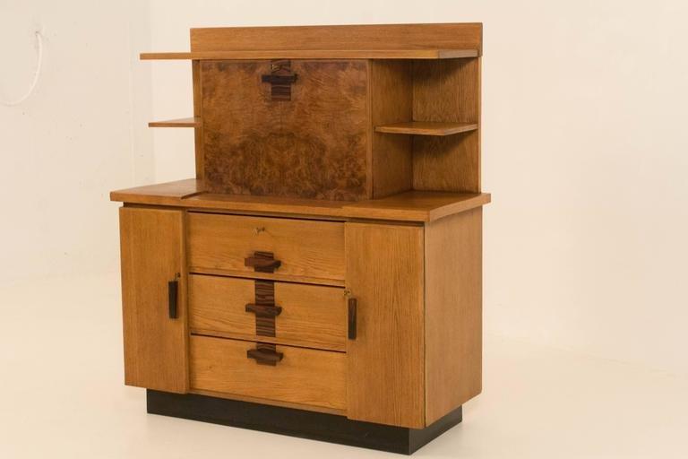 art deco haager schule b cherregal mit ausklappbarem schreibtisch von p e l izeren bei pamono. Black Bedroom Furniture Sets. Home Design Ideas