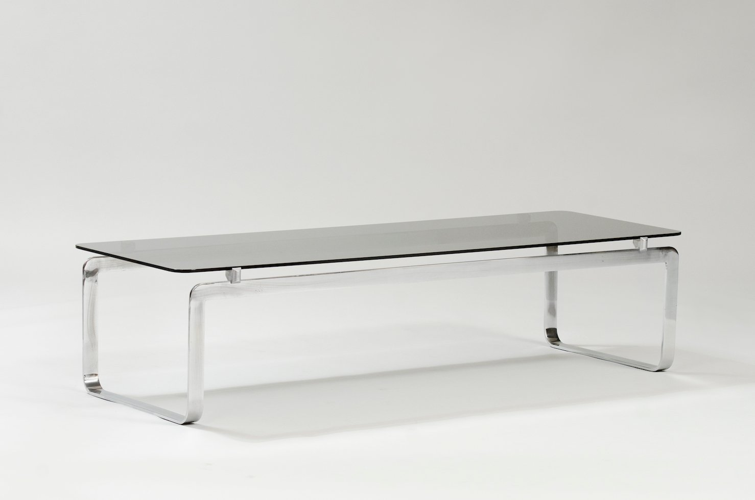 Italian Coffee Table In Chrome And Smoked Glass
