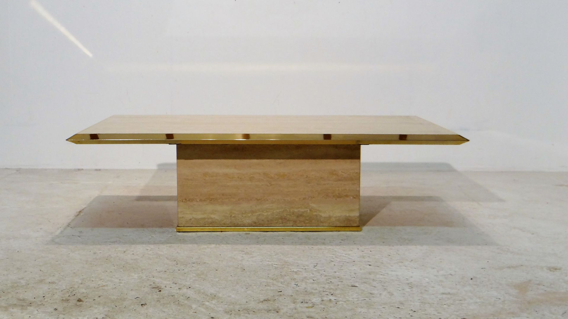 Travertine Coffee Table with Gilded Brass Edges for sale at Pamono
