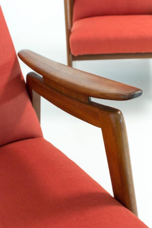 rote mid century modern st hle mit hoher r ckenlehne 1960er 2er set bei pamono kaufen. Black Bedroom Furniture Sets. Home Design Ideas