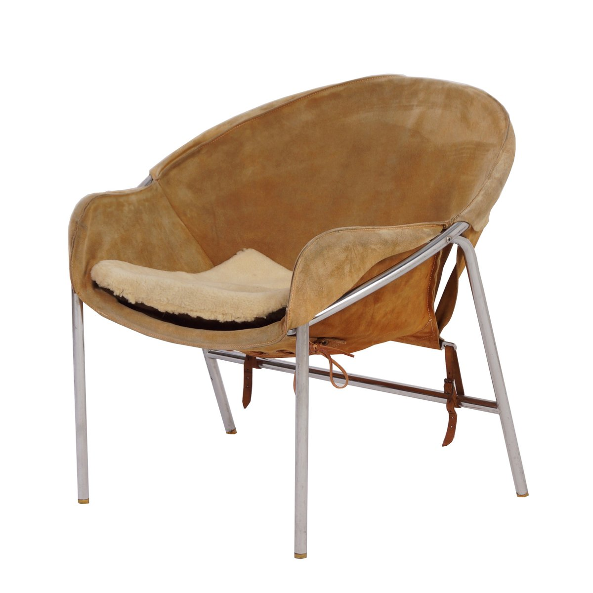 Marvelous Light Brown Suede Sling Chair By Erik Jørgensen For Bovirke, 1950s