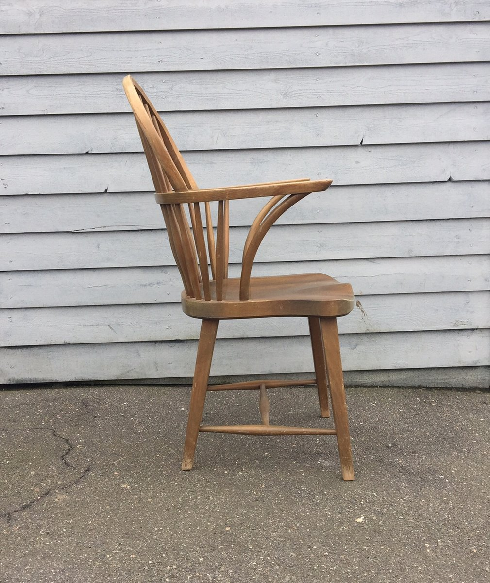 Ch 18a High Back Spindle Windsor Oak Chair By Frits