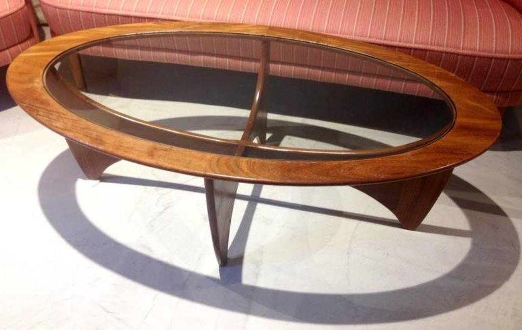 Superb Oval Teak Coffee Table With Glass Top From G Plan, 1960s