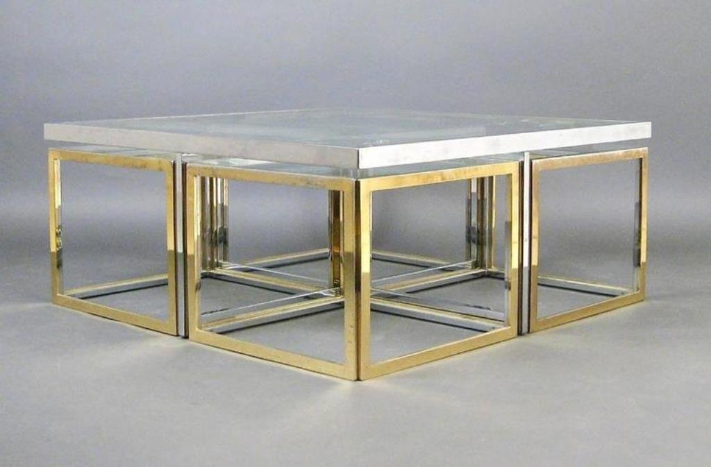vintage large glass and metal coffee table for sale at pamono. Black Bedroom Furniture Sets. Home Design Ideas