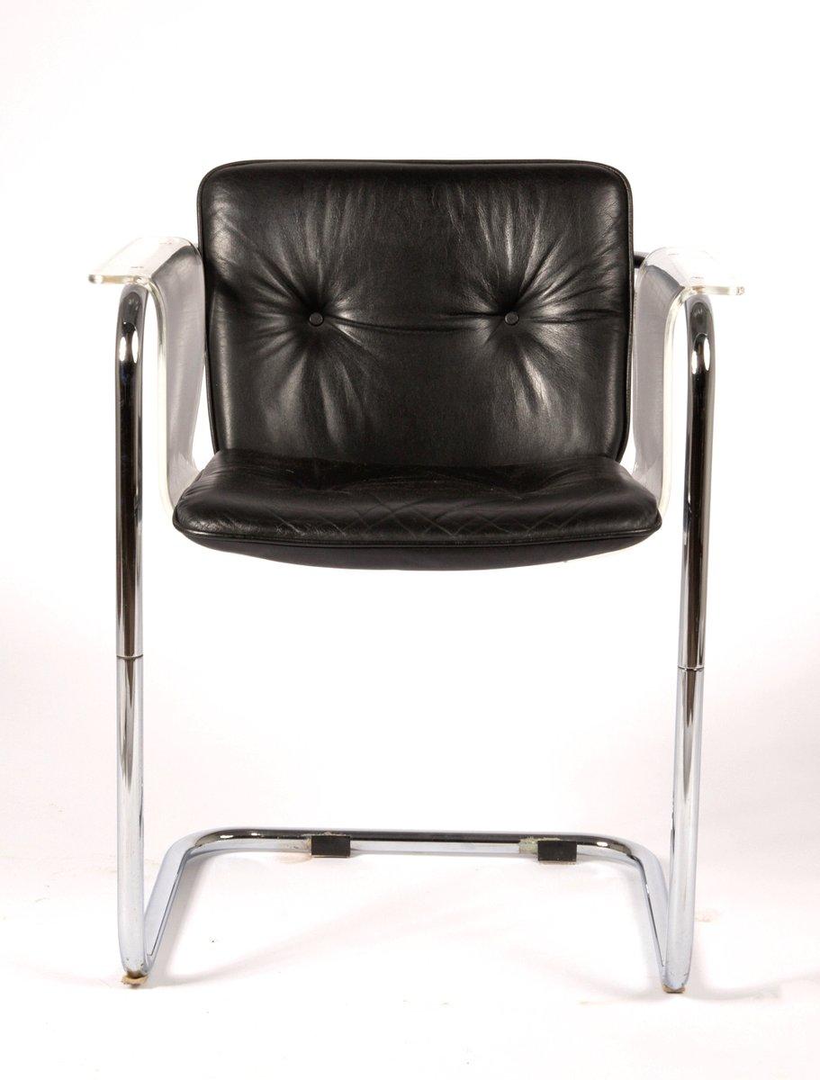 moderner plexiglas leder freischwinger stuhl von hans. Black Bedroom Furniture Sets. Home Design Ideas