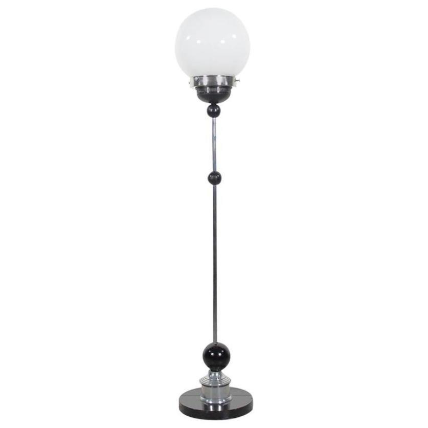 Vintage art deco chrome floor lamp with round glass shade for sale vintage art deco chrome floor lamp with round glass shade aloadofball Gallery