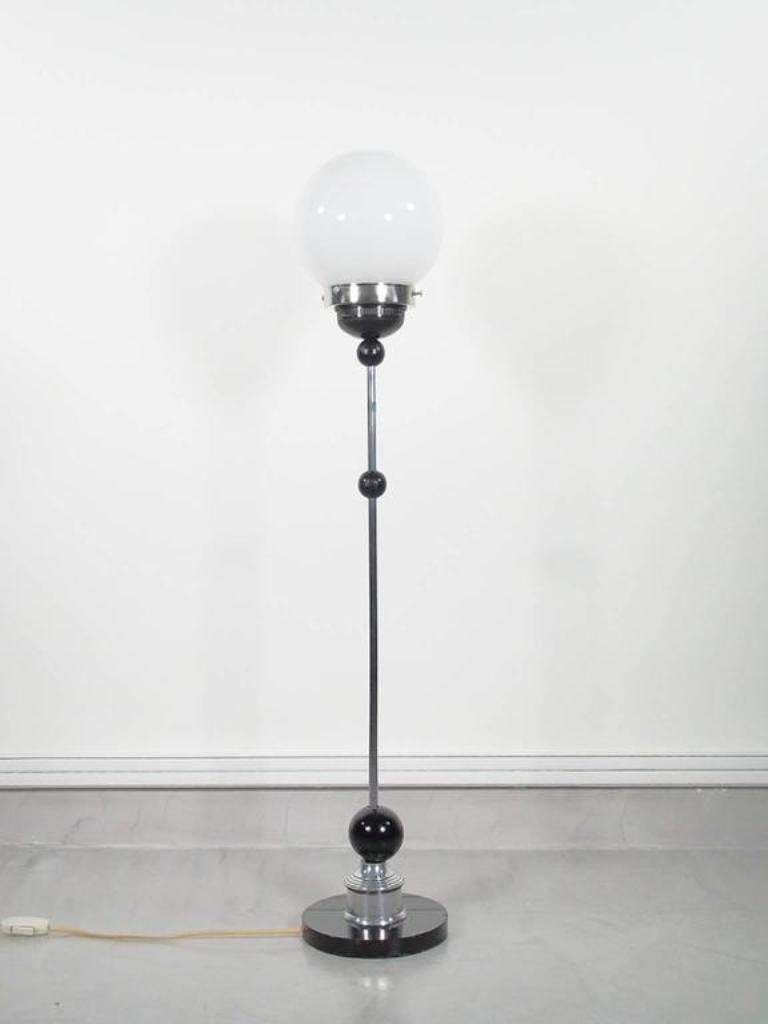 Vintage art deco chrome floor lamp with round glass shade for sale price per piece aloadofball Gallery