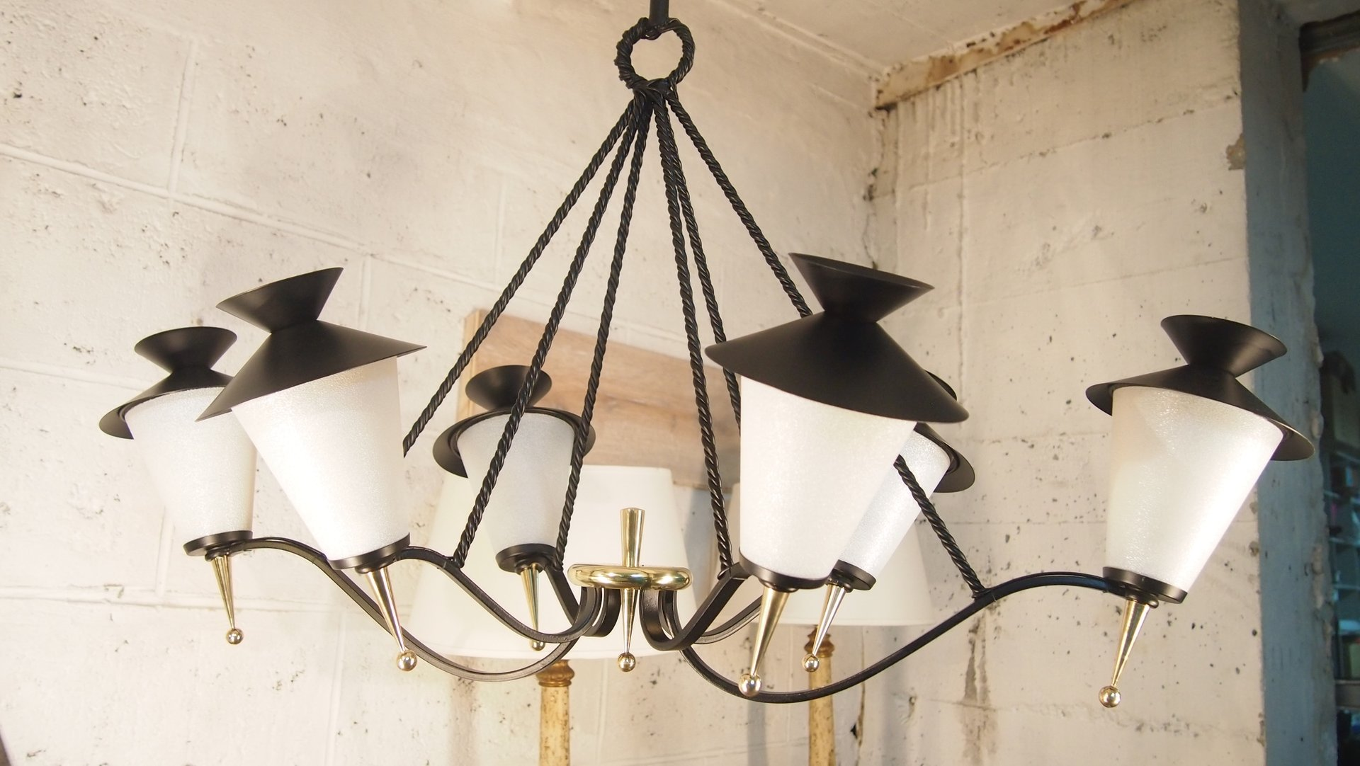 Mid century french lantern chandelier from maison arlus 1958 for price per piece mozeypictures Images