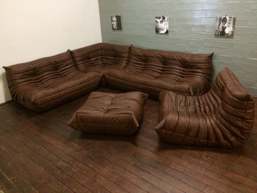 Vintage Brown Leather Togo Living Room Set by Michel Ducaroy for ...