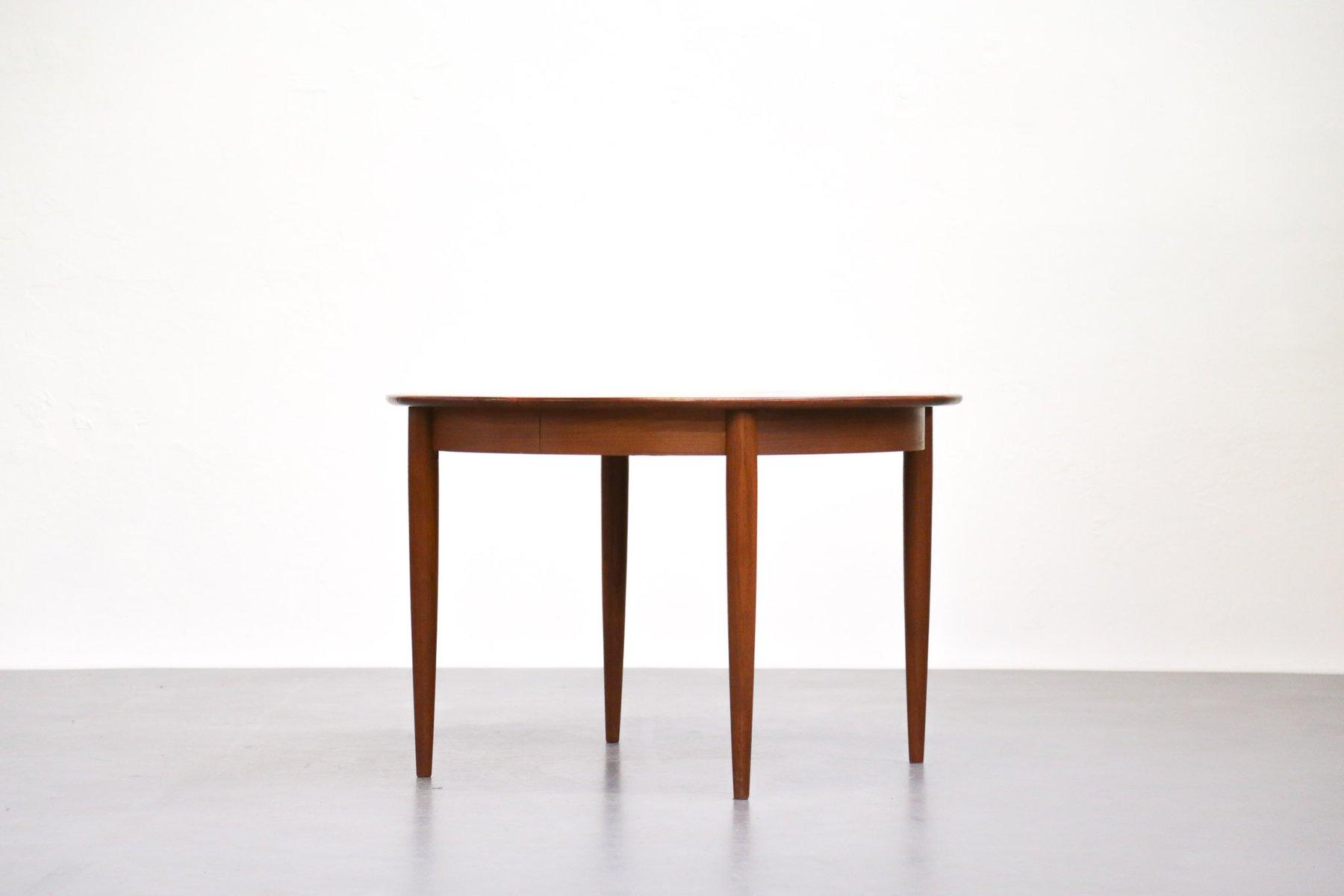 ausziehbarer skandinavischer teak esstisch bei pamono kaufen. Black Bedroom Furniture Sets. Home Design Ideas