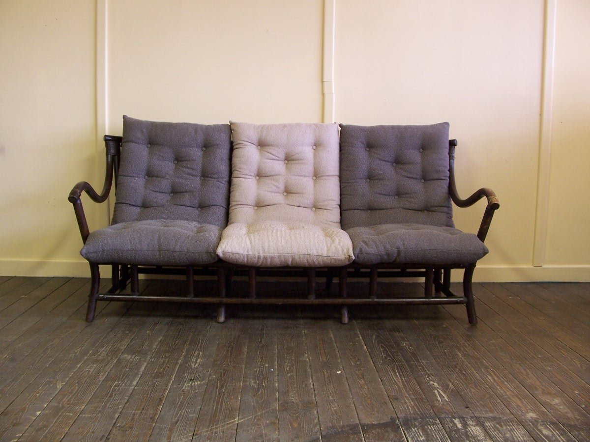 Vintage Rattan Sofa With Cushions For Sale At Pamono