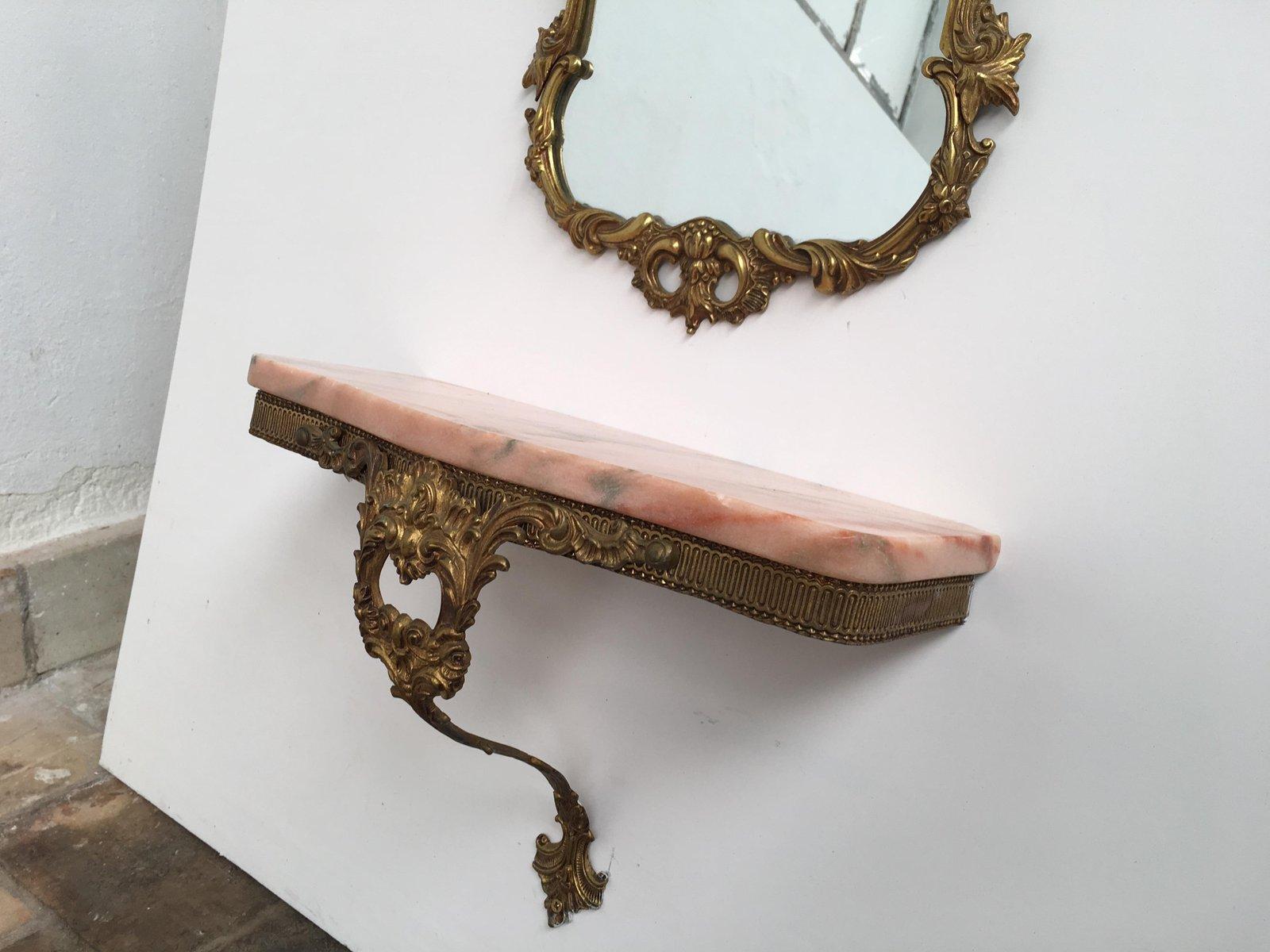 Consolle con specchio antico in ottone e marmo rosa, Italia in ...