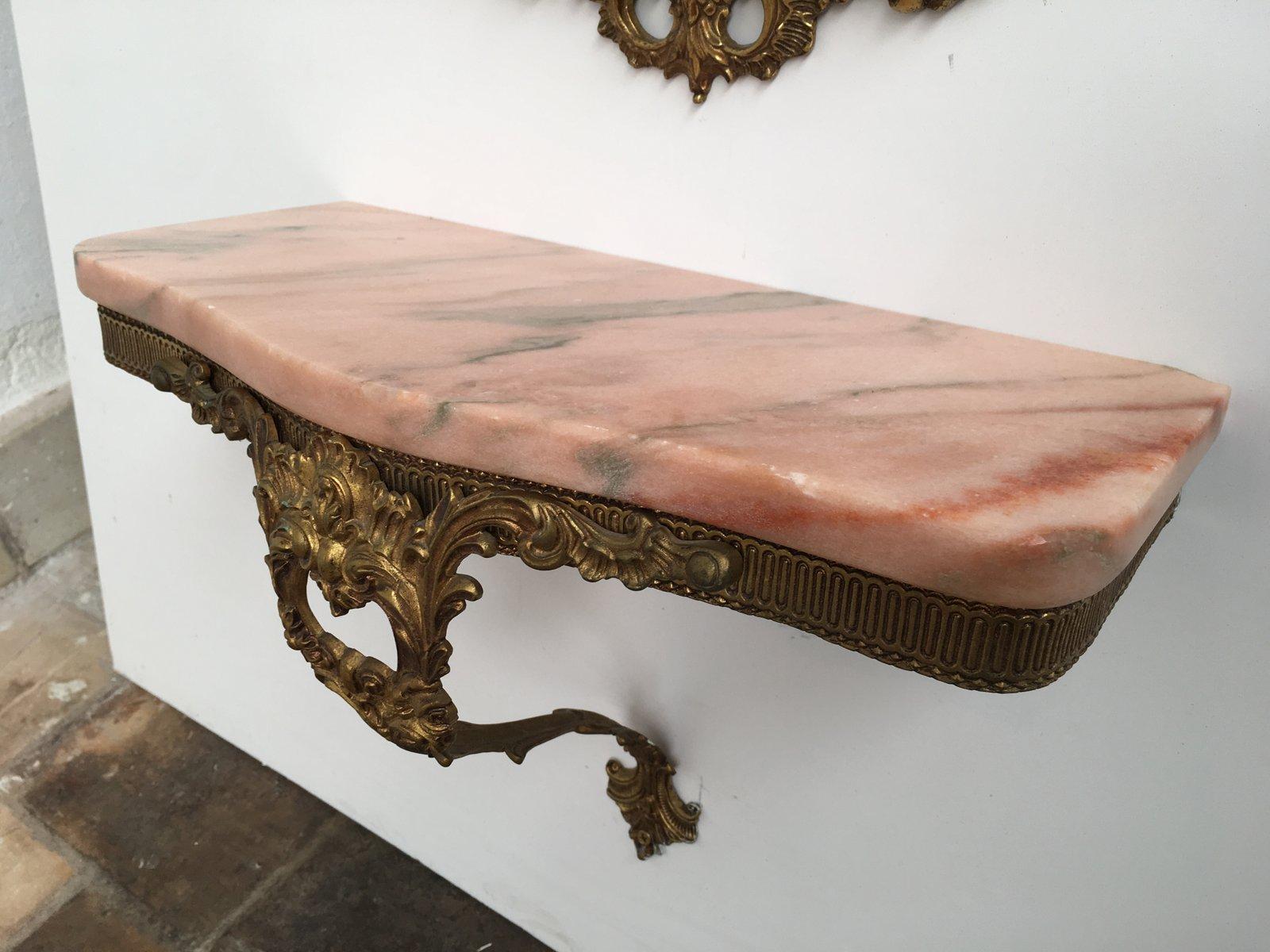 antiker barocker italienischer wandspiegel konsole aus messing rosa marmor bei pamono kaufen. Black Bedroom Furniture Sets. Home Design Ideas