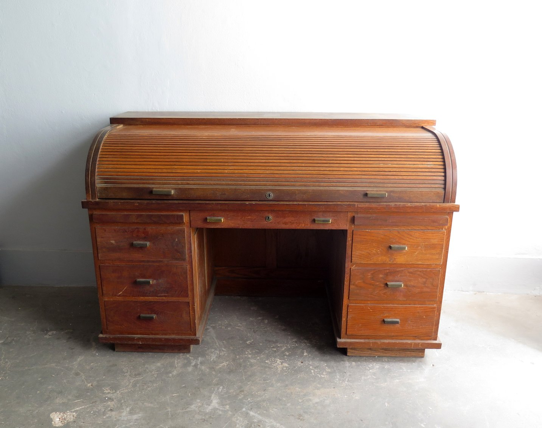 vintage wooden tambour door desk with brass handles for sale at pamono. Black Bedroom Furniture Sets. Home Design Ideas