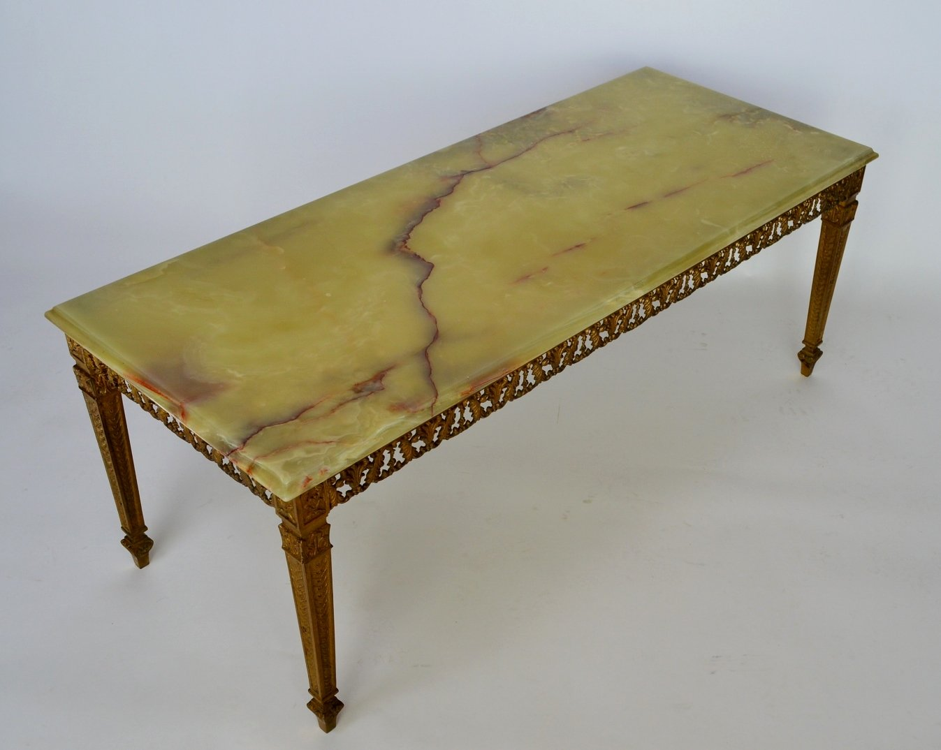 Green Onyx Marble Amp Brass Coffee Table 1970s For Sale At
