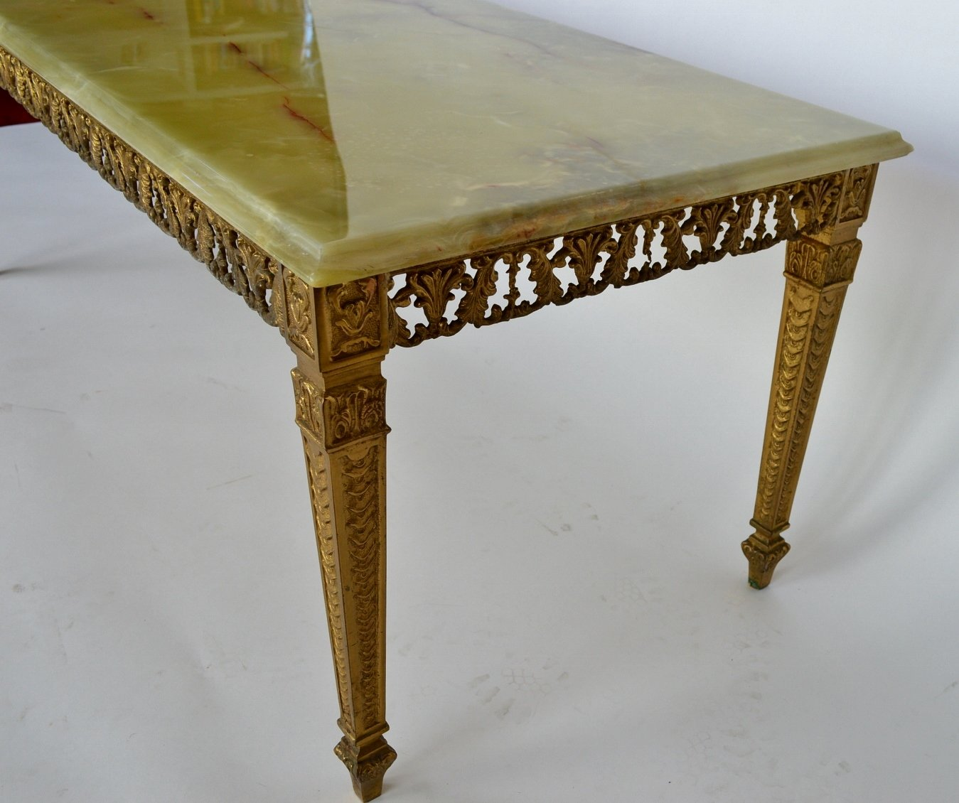 Marble Coffee Table For Sale Singapore: Green Onyx Marble & Brass Coffee Table, 1970s For Sale At