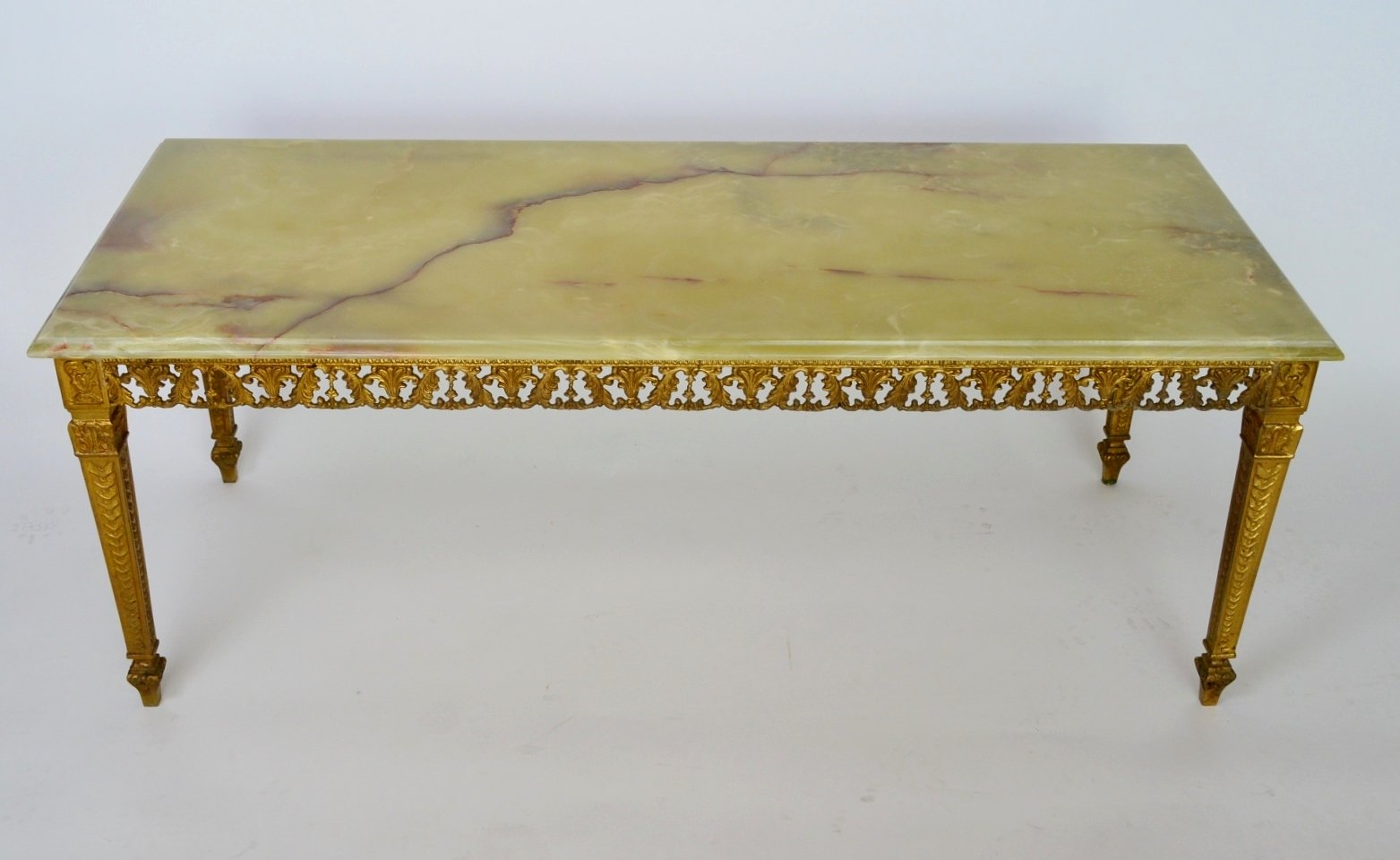 Green Onyx Marble Brass Coffee Table 1970s for sale at Pamono
