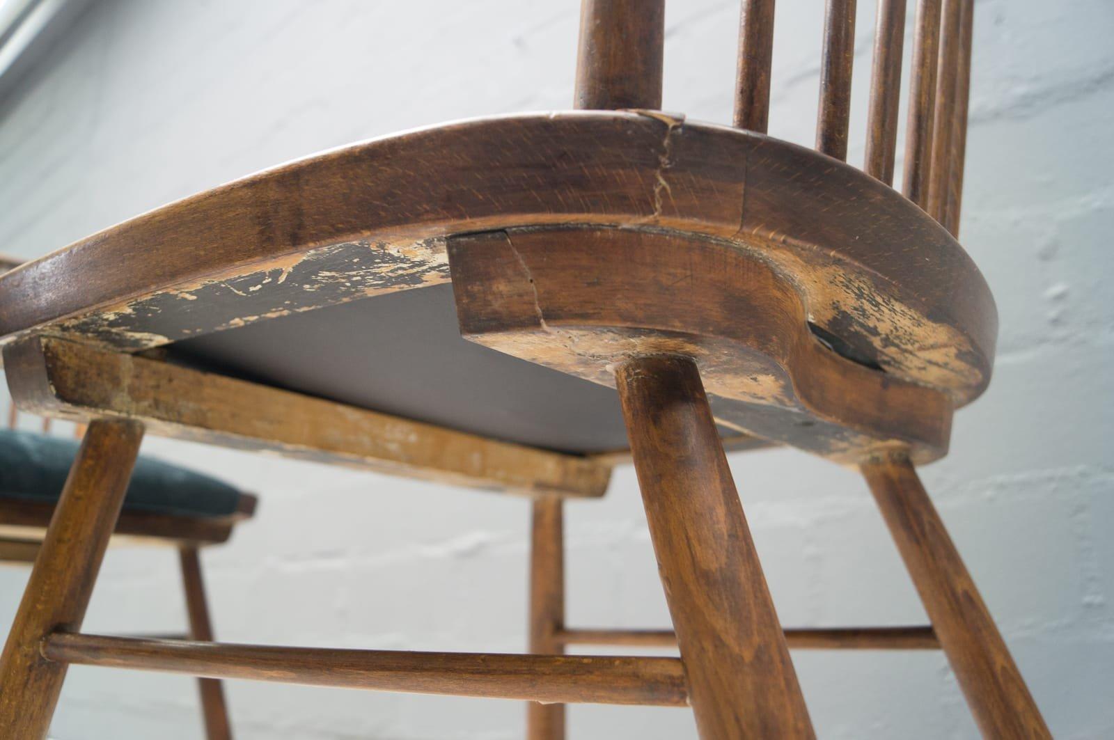 vintage holz esszimmerst hle 1950er 4er set bei pamono kaufen. Black Bedroom Furniture Sets. Home Design Ideas