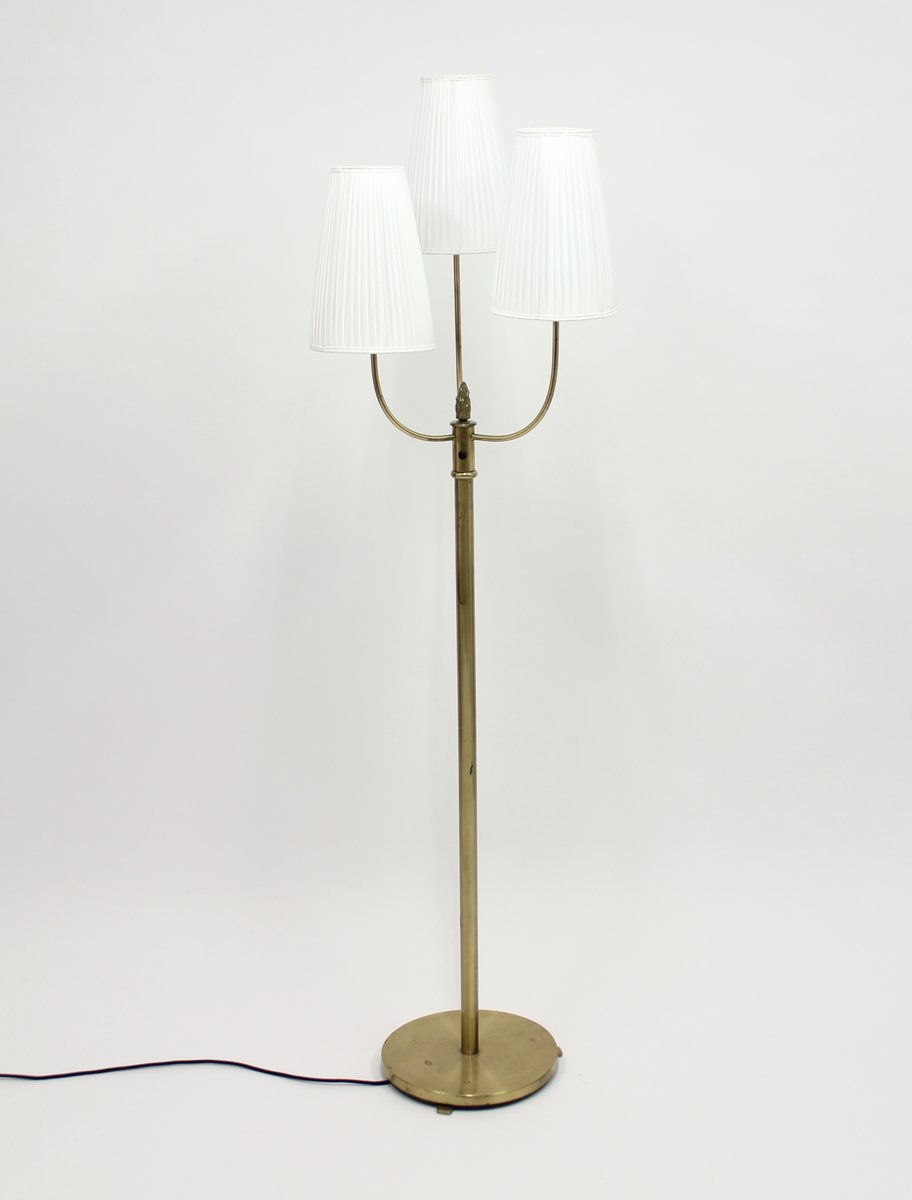 Vintage Three Light Brass Floor Lamp 1940s For Sale At Pamono