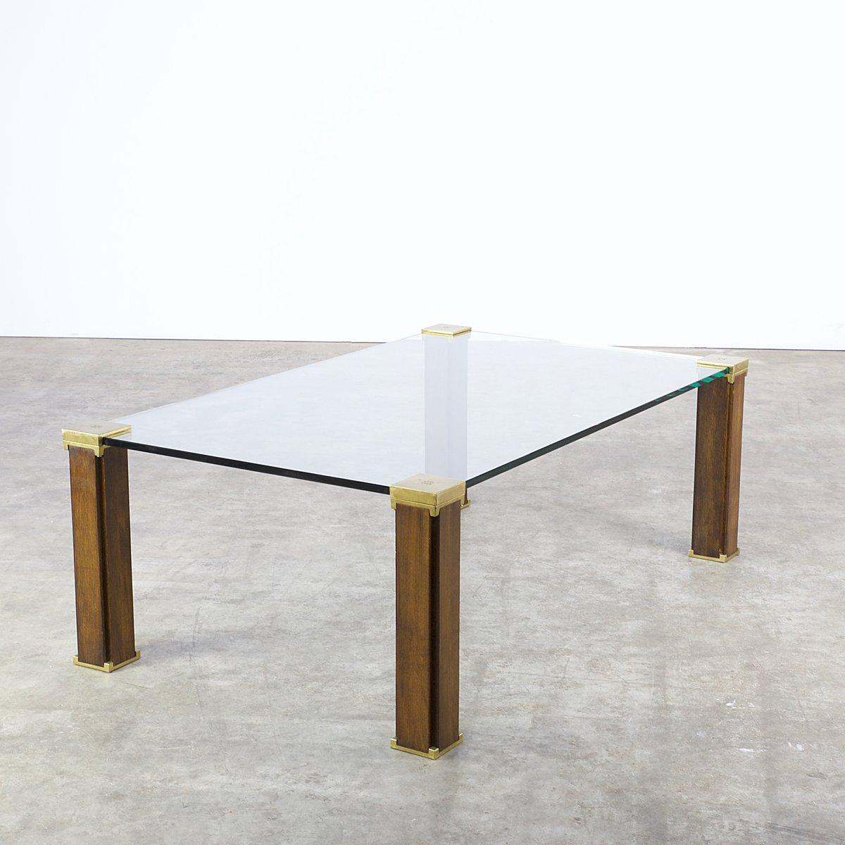 t66 couchtisch aus glas messing teak von peter ghyczy 1970er bei pamono kaufen. Black Bedroom Furniture Sets. Home Design Ideas
