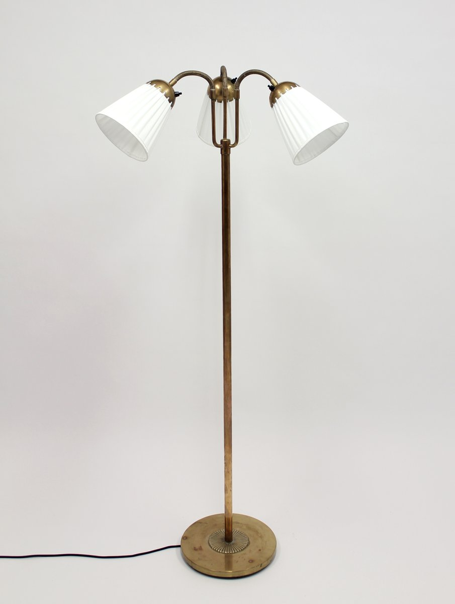 Brass three light floor lamp 1940s for sale at pamono brass three light floor lamp 1940s aloadofball Choice Image