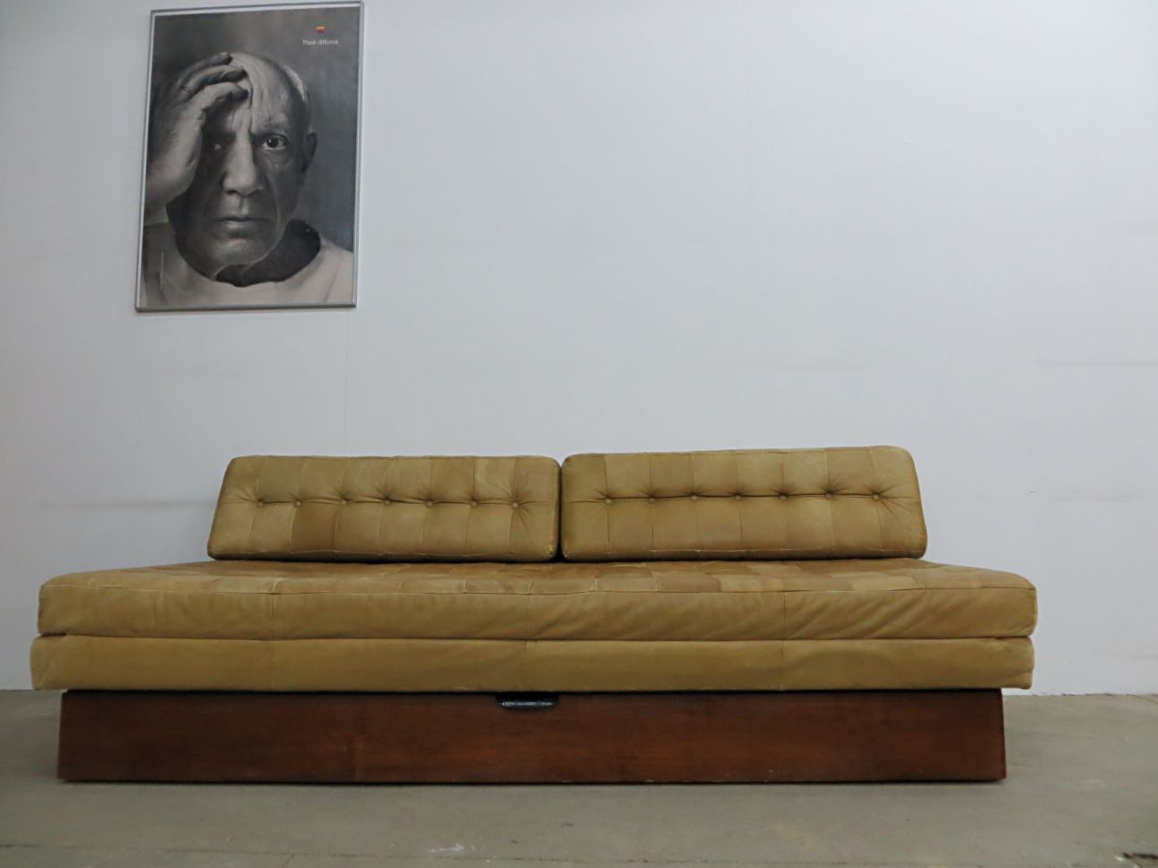 Charming Vintage Leather Sofa Bed