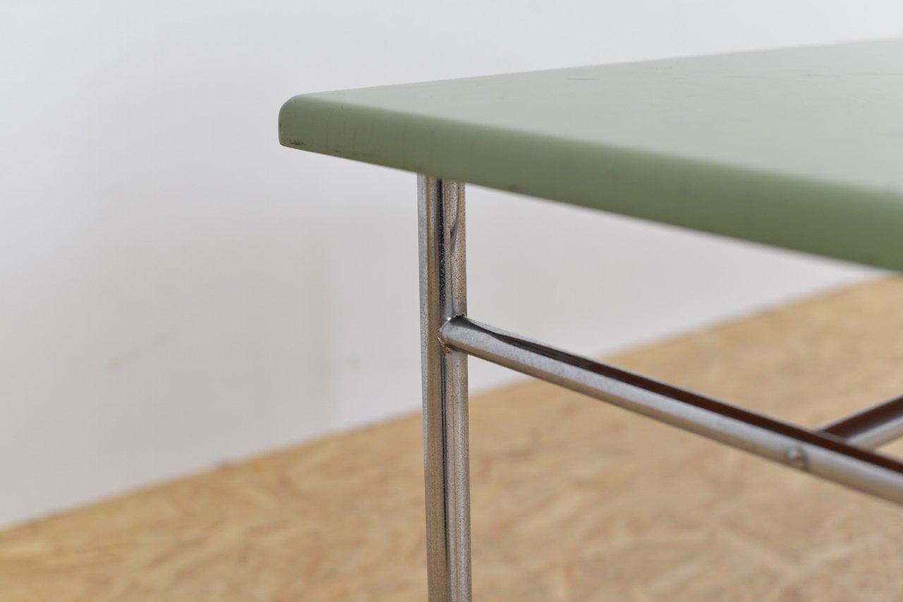 gr ner vintage stahlrohr tisch bei pamono kaufen. Black Bedroom Furniture Sets. Home Design Ideas