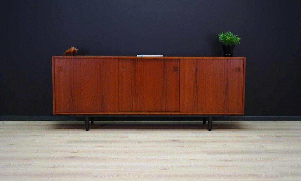 d nisches mid century teak sideboard mit drei schiebet ren 1960er bei pamono kaufen. Black Bedroom Furniture Sets. Home Design Ideas