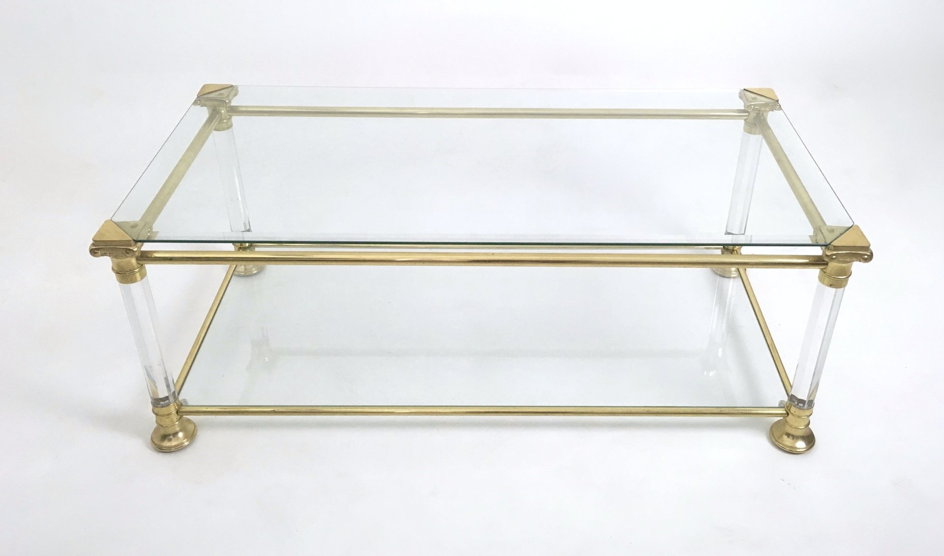 Vintage Italian Crystal Plexiglass and Brass Coffee Table 1980s