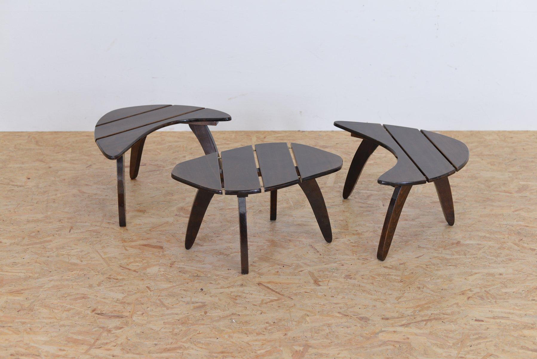 Mid century beistelltische 3er set bei pamono kaufen for Beistelltische 3er set modern
