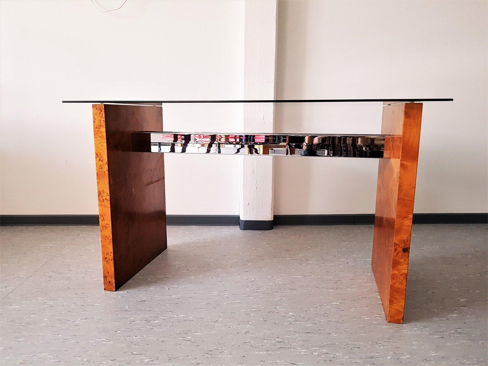 konsolentisch aus wurzelholz glas 1970er bei pamono kaufen. Black Bedroom Furniture Sets. Home Design Ideas