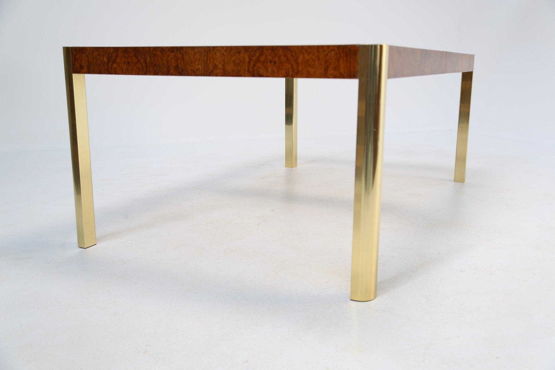 Esstisch aus wurzelholz messing glas von century for Esstisch aus glas