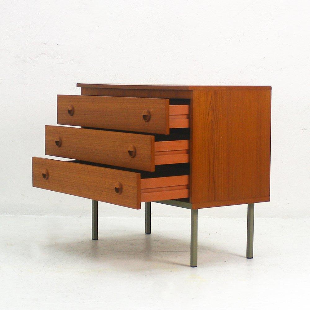 teak kommode mit drei schubladen 1960er bei pamono kaufen. Black Bedroom Furniture Sets. Home Design Ideas