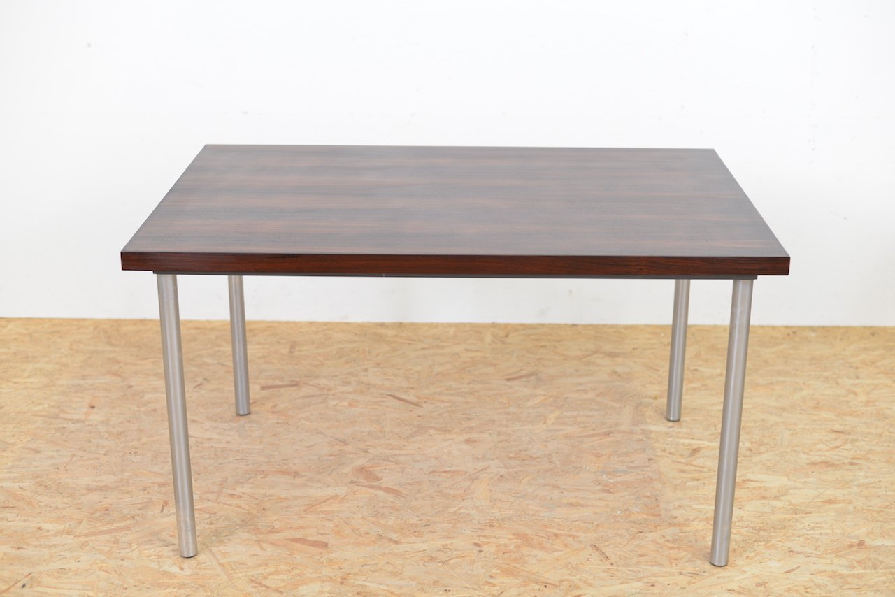 Mid Century Rosewood Table With Tubular Metal Legs 1960s