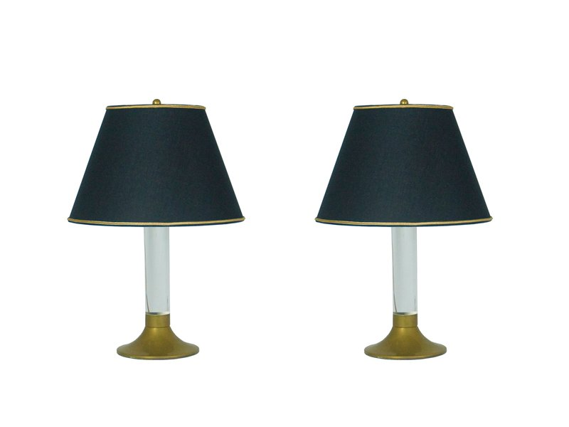 Vintage Italian Brass U0026 Plexiglass Table Lamps, Set Of 2 For Sale At Pamono