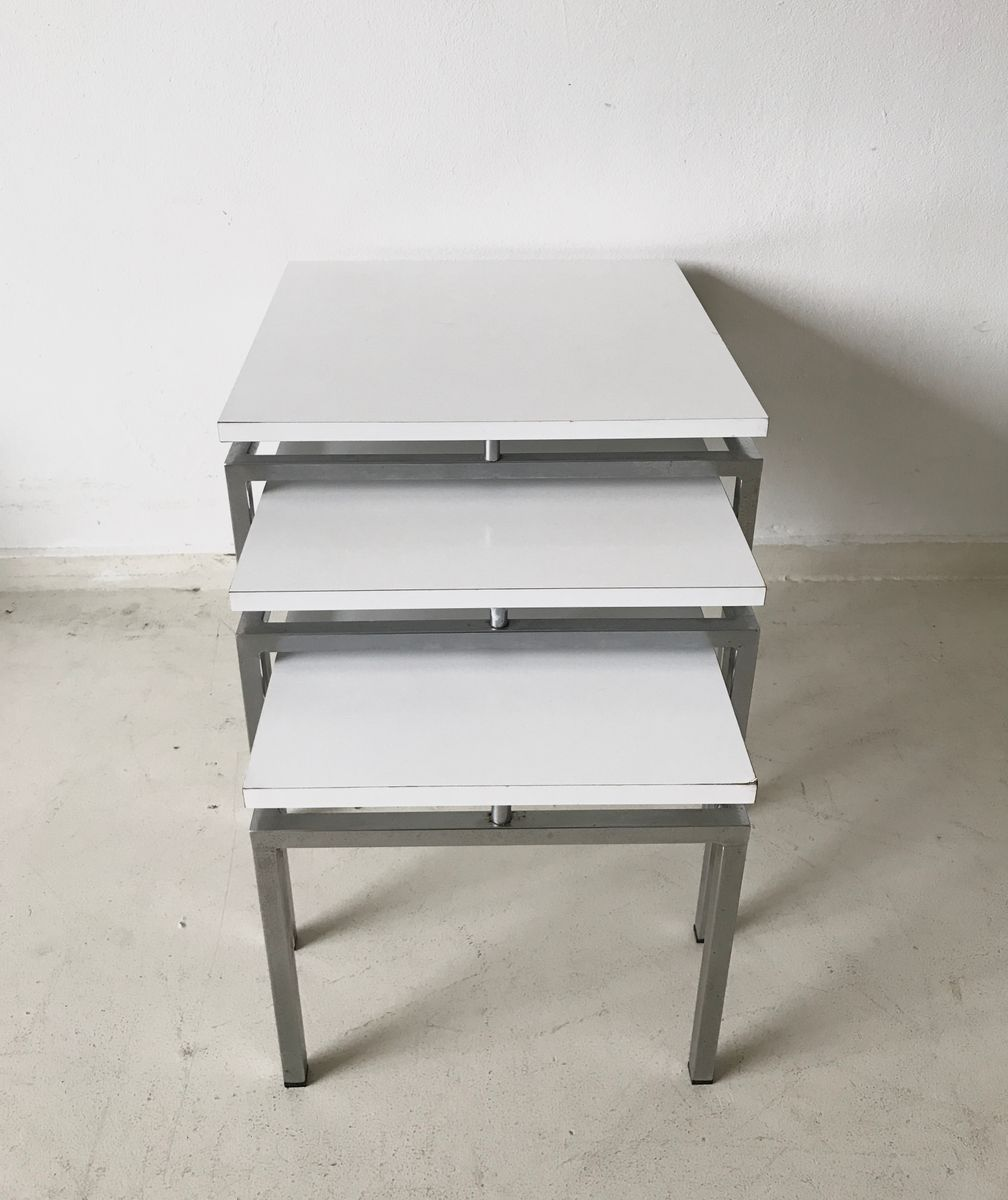 Mid century modern white nesting tables 1960s for sale at pamono price 84600 regular price 110600 watchthetrailerfo