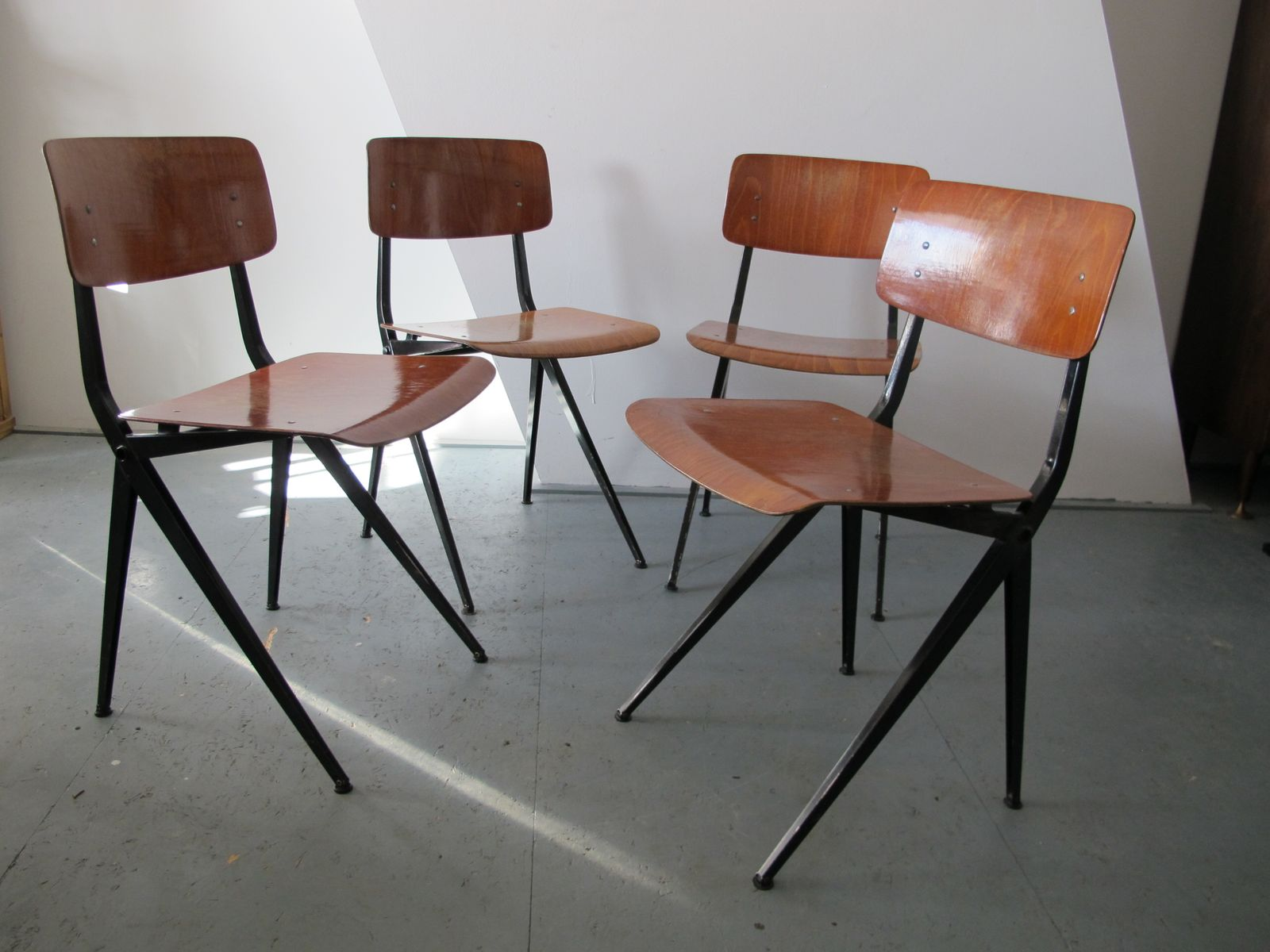 Mid Century Industrial Steel and Wood Chairs from Marko Set of 4