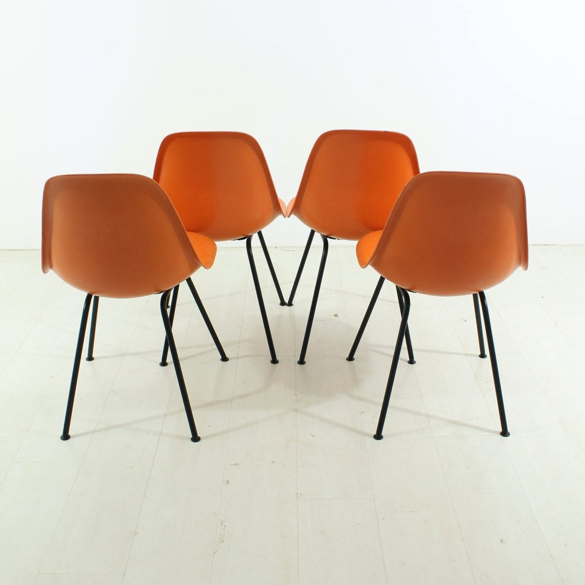 Vintage Orange Side Chairs With H Bases By Charles U0026 Ray Eames For Herman  Miller, Set Of 4