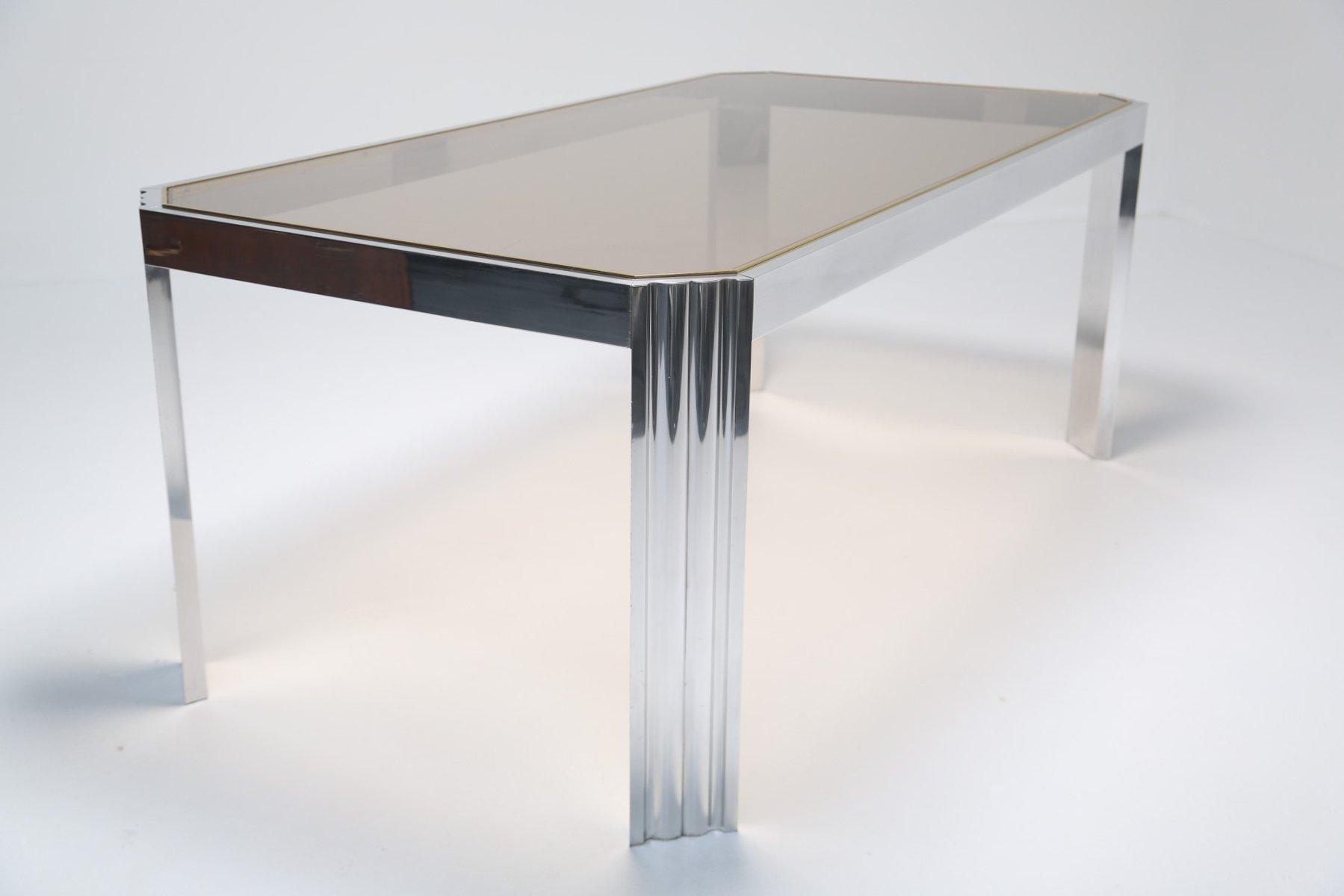 Genial Aluminium U0026 Smoked Glass Dining Table, 1970s