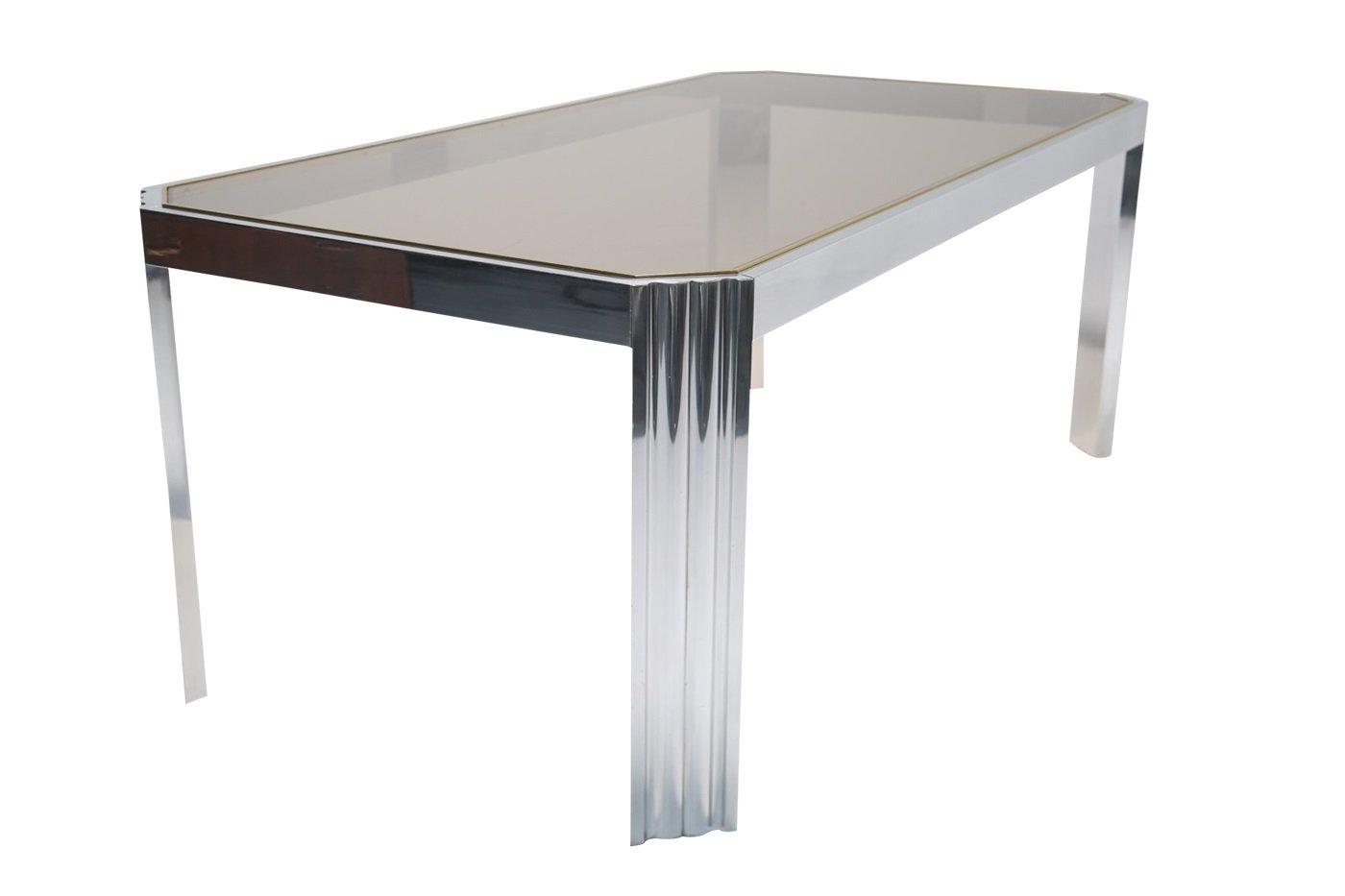 esstisch aus aluminium rauchglas 1970er bei pamono kaufen. Black Bedroom Furniture Sets. Home Design Ideas