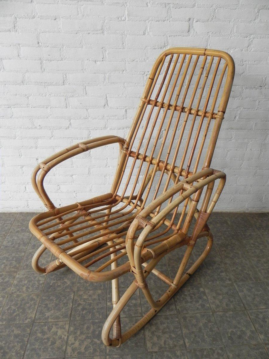 Vintage bambus und rattan schaukelstuhl bei pamono kaufen for Bambus schaukelstuhl