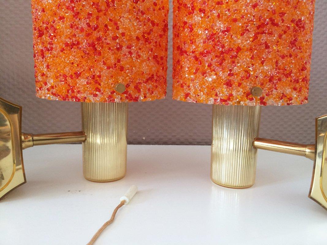 Orange Plastic Granite Table Lamps, Set of 2 for sale at ...