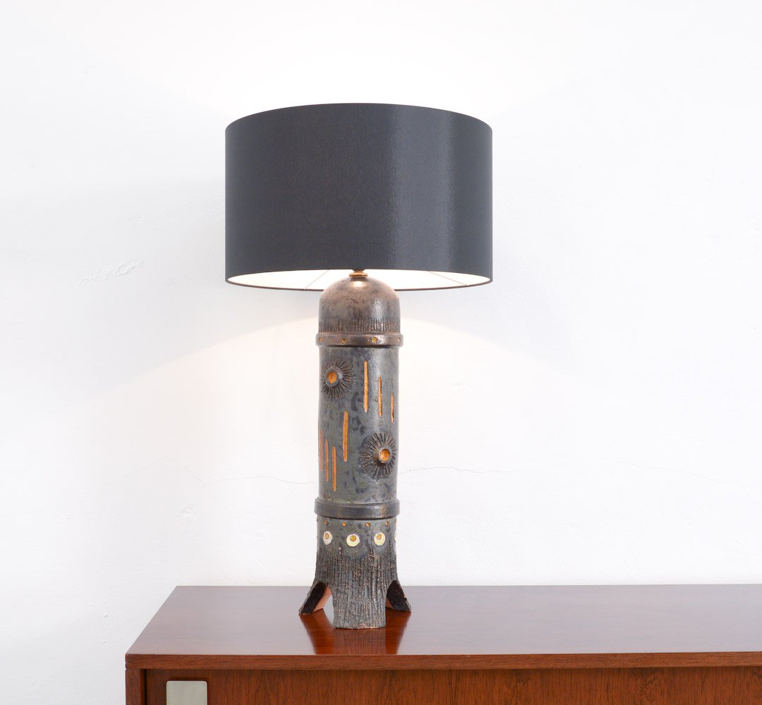 Vintage large black ceramic table lamp from baudouin monteyne for vintage large black ceramic table lamp from baudouin monteyne aloadofball Image collections